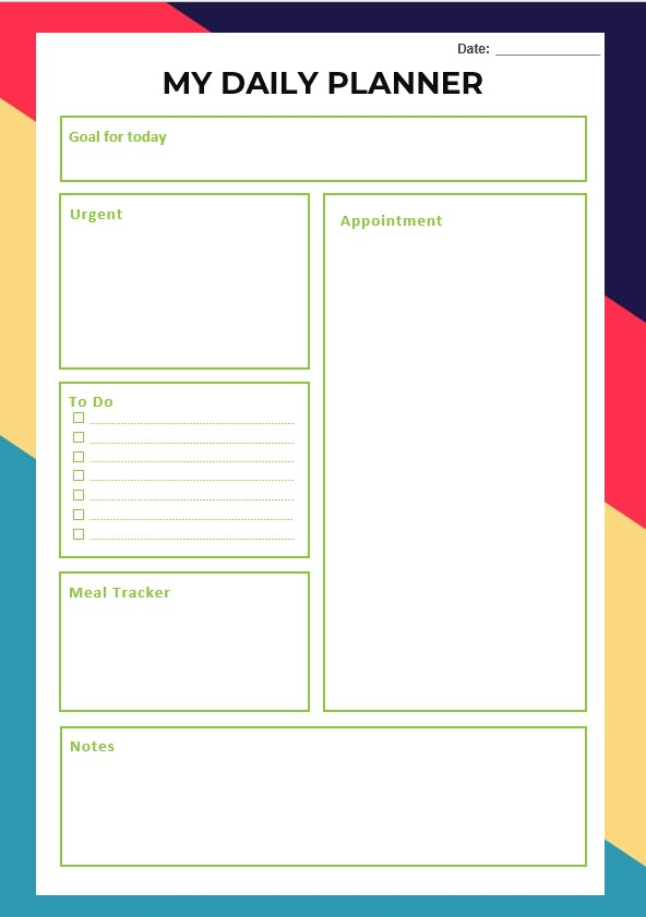 Design Daily Planner Template