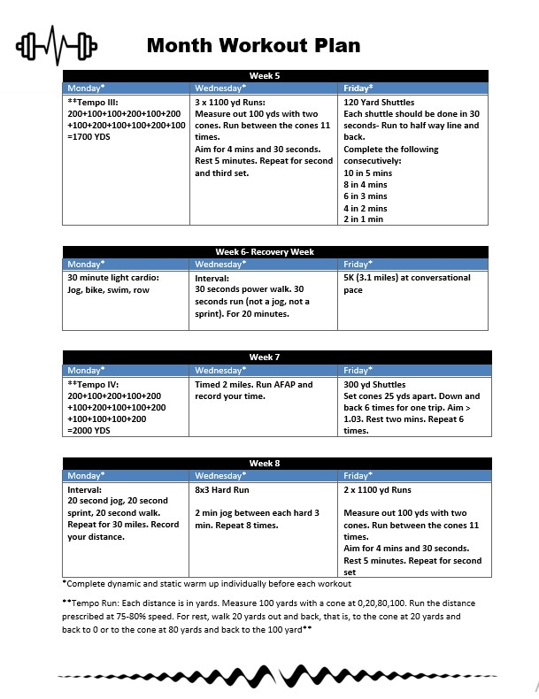 Month Workout Plan Template