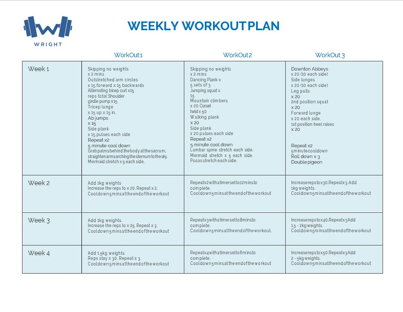 Weekly Workout Plan Template