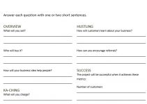 Sample 1 Page Business Plan Template