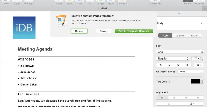 Outline Templates in Apple Pages