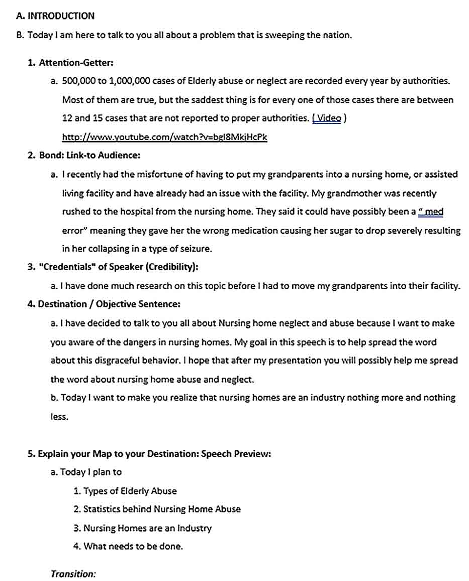 Sample Persuasive Speech Outline Template as a Speech Delivery Aid Throughout Speech Outline Template Word