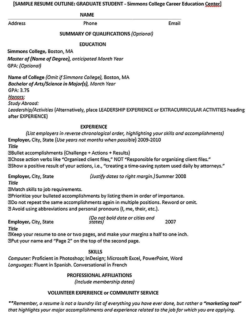 sample resume for study abroad application  20 student