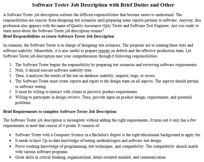 Software Tester Job Description With Brief Duties And Other Room Surf Com