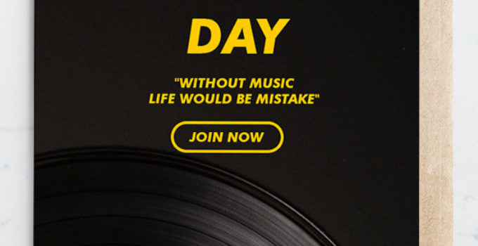 PSD Music Day Greeting Card Template