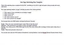 Sample One Page Marketing Plan Template Free Download