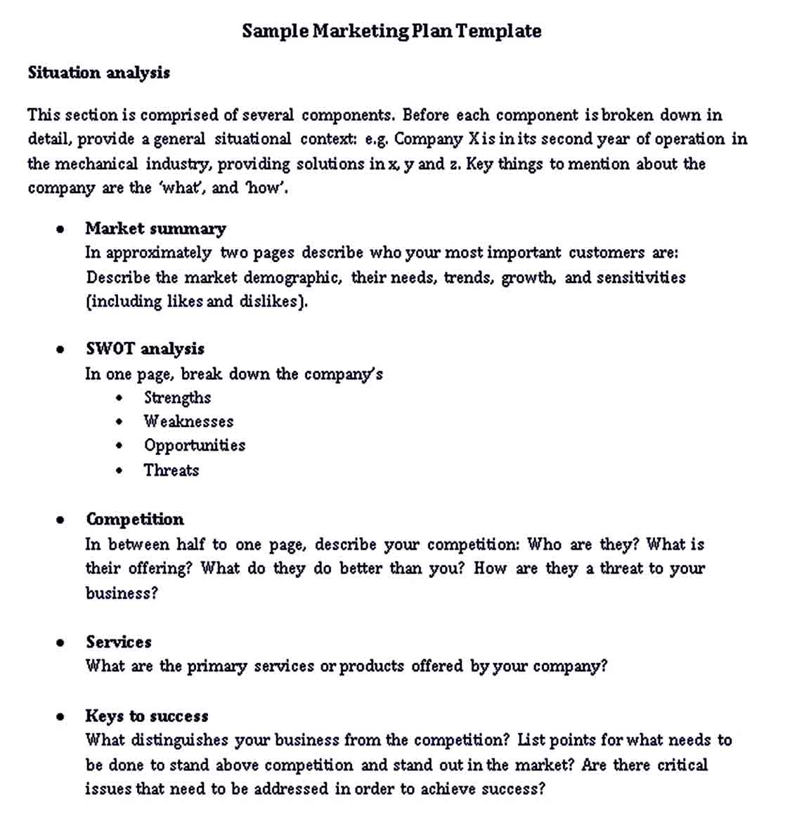 One Page Marketing Plan Template   room surf.com