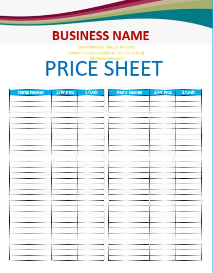 Free Editable Price List Template from uroomsurf.com