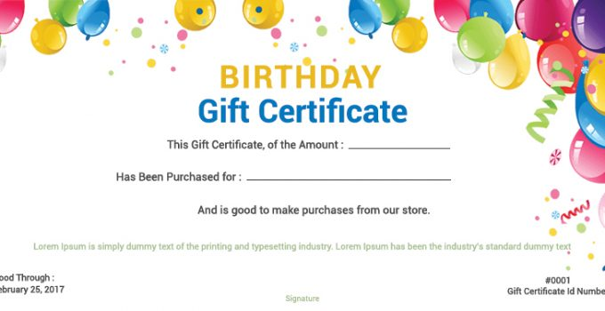 birthday gift certificate Example PSD Design