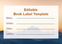 Book Label Template in word design