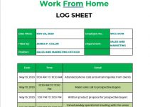 Work From Home Log Template in word design