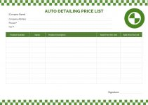 auto detailing price list in word