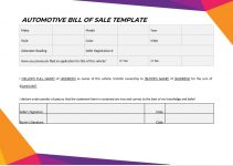 automotive bill of sale template in word free download