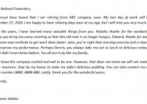 101. Retirement Letter to Coworkers