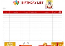 birthday list template in word free download