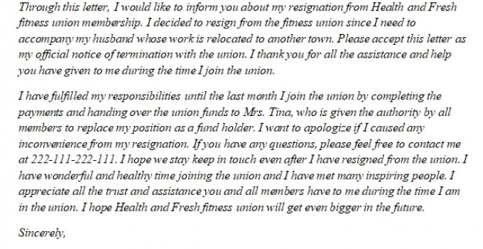 217. Knowing More about Union Resignation Letter and its Sample 2