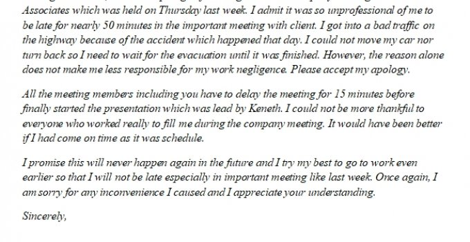 218. Apology Letter for Being Late
