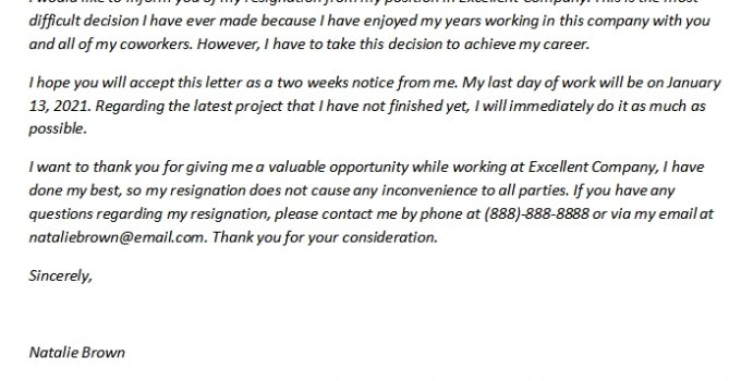 221. Two Weeks Notice Resignation Letter