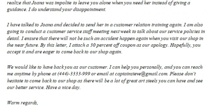 224. Apology Letter for Bad Service