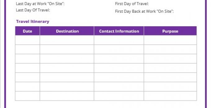 business travel itinerary template example word design