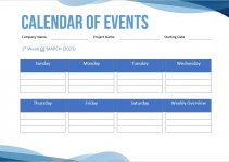 calendar of events template free download word