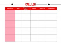 call log template free download word