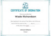 certificate of ordination template example word design