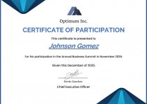 certificate of participation template in word free download