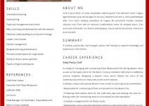 chef resume template free download word