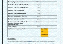 cleaning services price list template free template