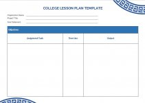college lesson plan template example word design