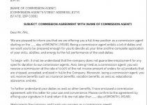 commission agreement letter template free download word