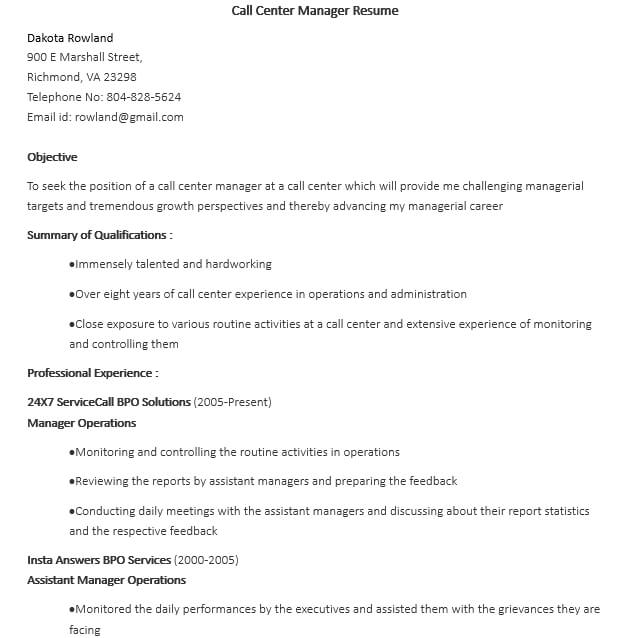 Call Center Manager Resume Template