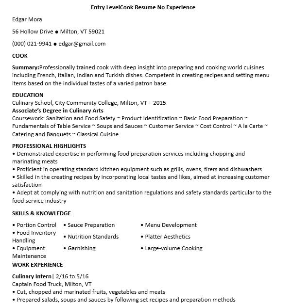 Entry Level Cook Resume No Experience