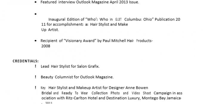Hair And Makeup Artist Resume 1