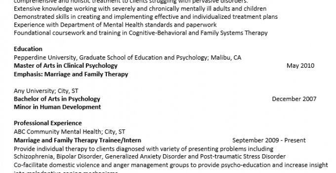 psych resume and cv packet